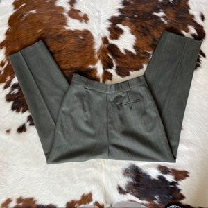 Vintage 100% Wool Green Herringbone Trousers
